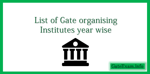 Year wise list of gate organising institutes